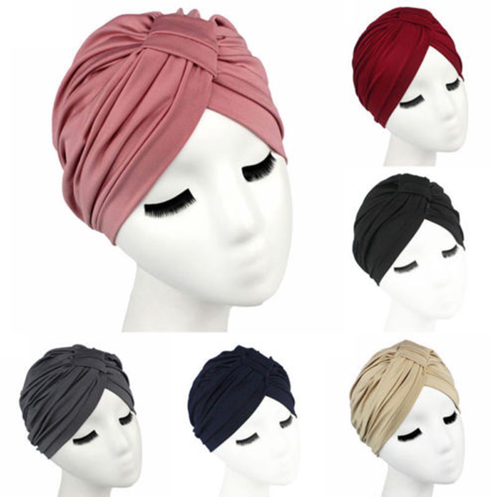 Turbante del sombrero de la Mujer ocasional sólida de color abrigo de la cabeza estirable Chemo plisado casquillo de la manera algodón transpirable Skullies