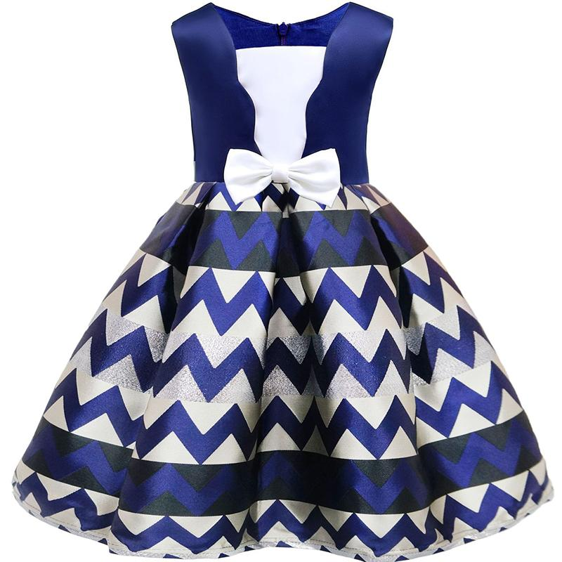 Bow Striped Princess Of Girls Baby Reception Formagirls Clothes Ball Gown For Girl Dress Knee-length Style 2-10year teenage