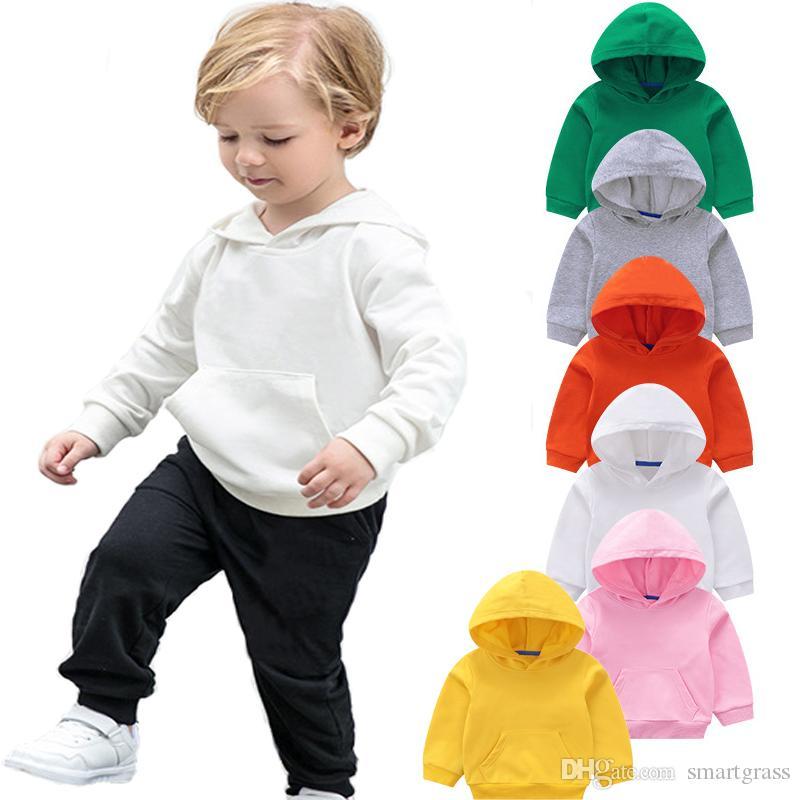 US Fashion Kid Baby Girl Boy Solid Casual Hoodie Tops Hooded Sweatshirt Pullover