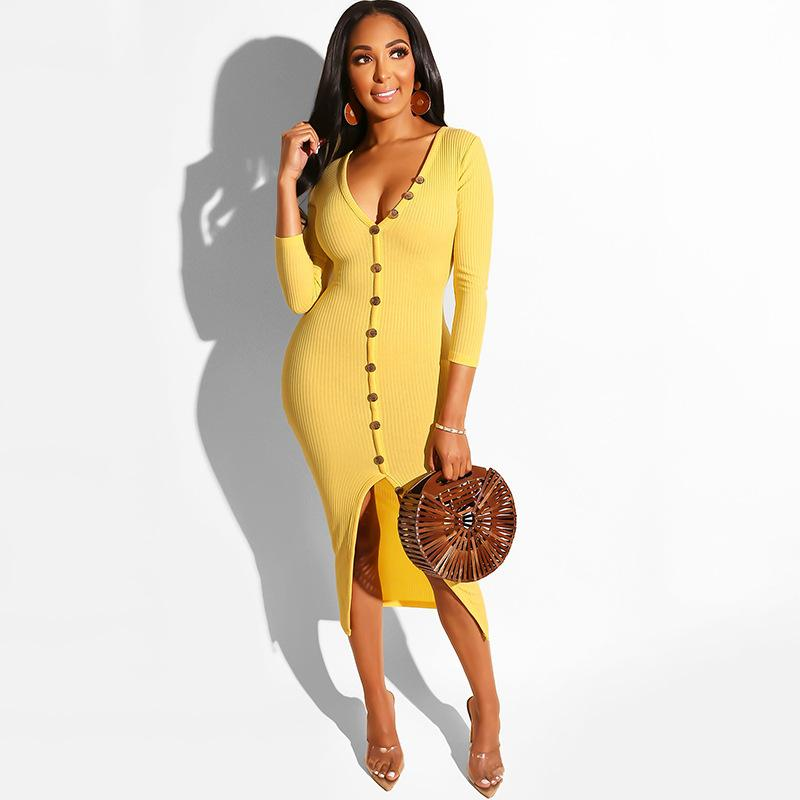 Fuera del hombro elegantes de punto vestido de las mujeres botones Arriba 3/4 cadera del paquete de la manga del verano del vestido cuello en V profundo delantero de Split Maxi vestido N19.7-2100
