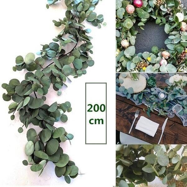 2m 인공 가짜 유칼립투스 화환 긴 실크 유칼립투스 잎 녹지 웨딩 백 드롭 단풍 아치 벽 장식 식물