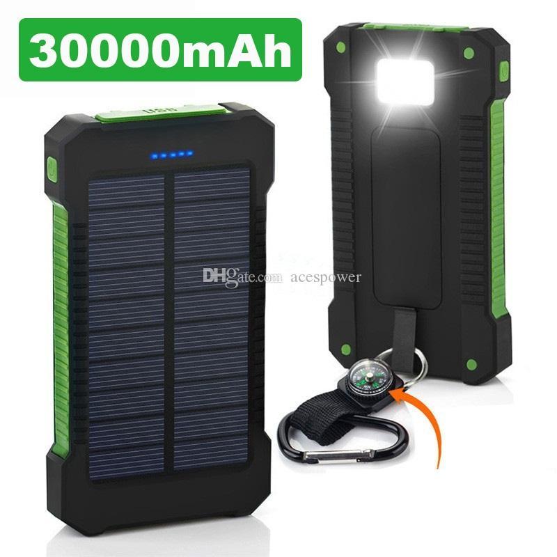 모든 휴대폰 용 LED 초박형 강조 유니버설 20000mAh 휴대용 태양열 충전기 은행 방수 태양 전지 패널 배터리 충전기