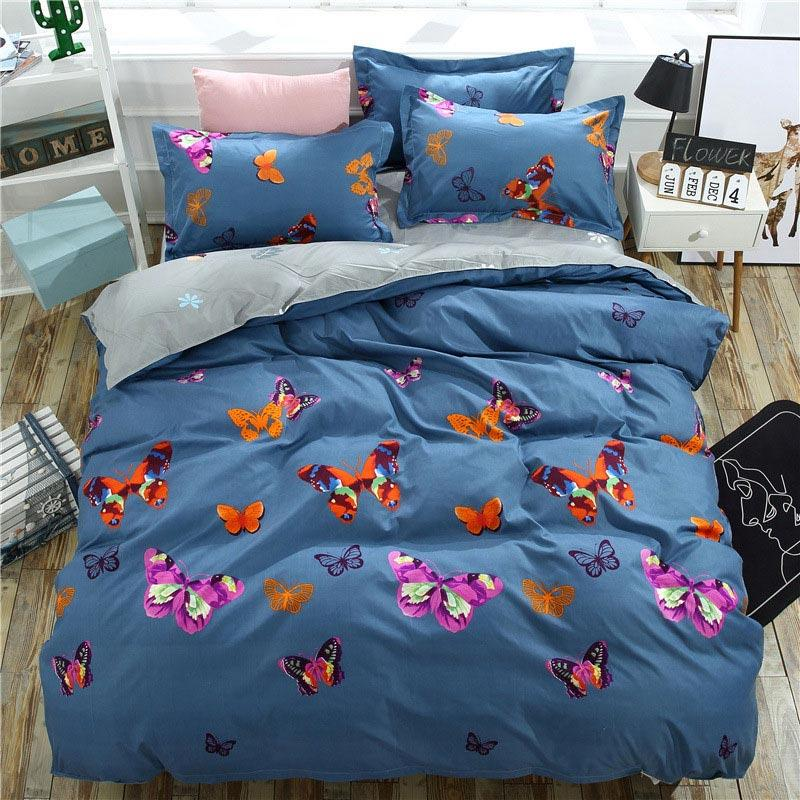 Butterfly 4pcs Kid Bed Cover Set Cartoon Duvet Cover Adult Child Bed Sheets And Pillowcases Comforter Bedding Set 2TJ-61004
