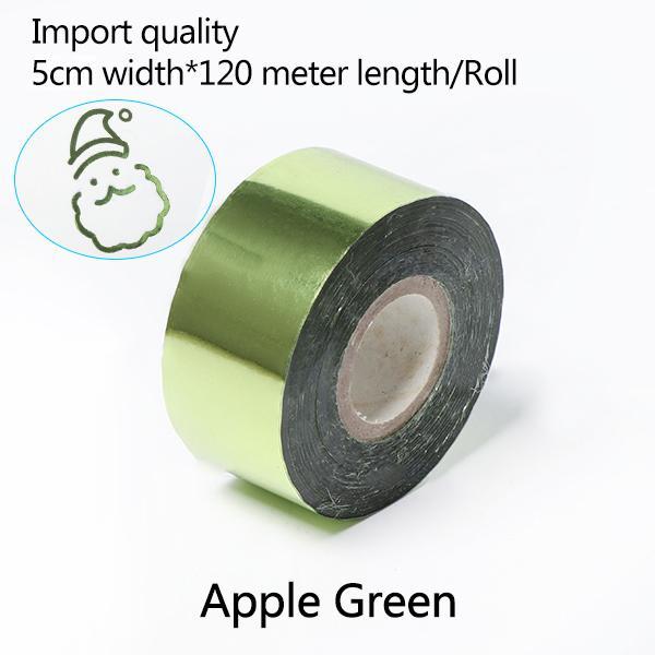 Transferência de 5cm Largura * 120 metros / Apple verde Rolls Hot Stamping Papel térmico anodizado papel dourado para Couro PU Carteira Hot Stamping