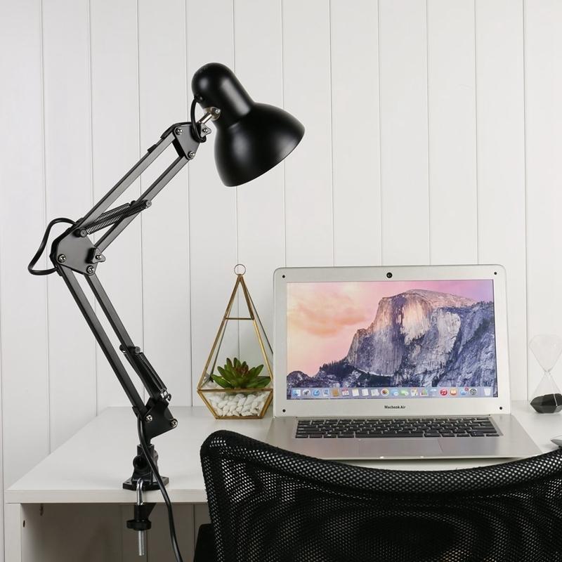 E27 / e26 Lampada da tavolo a Led Nero Luce Ac85-265v Flessibile Altalena Morsetto Braccio di Montaggio Lampada Da Studio Ufficio Home Desk Lampade Q190601