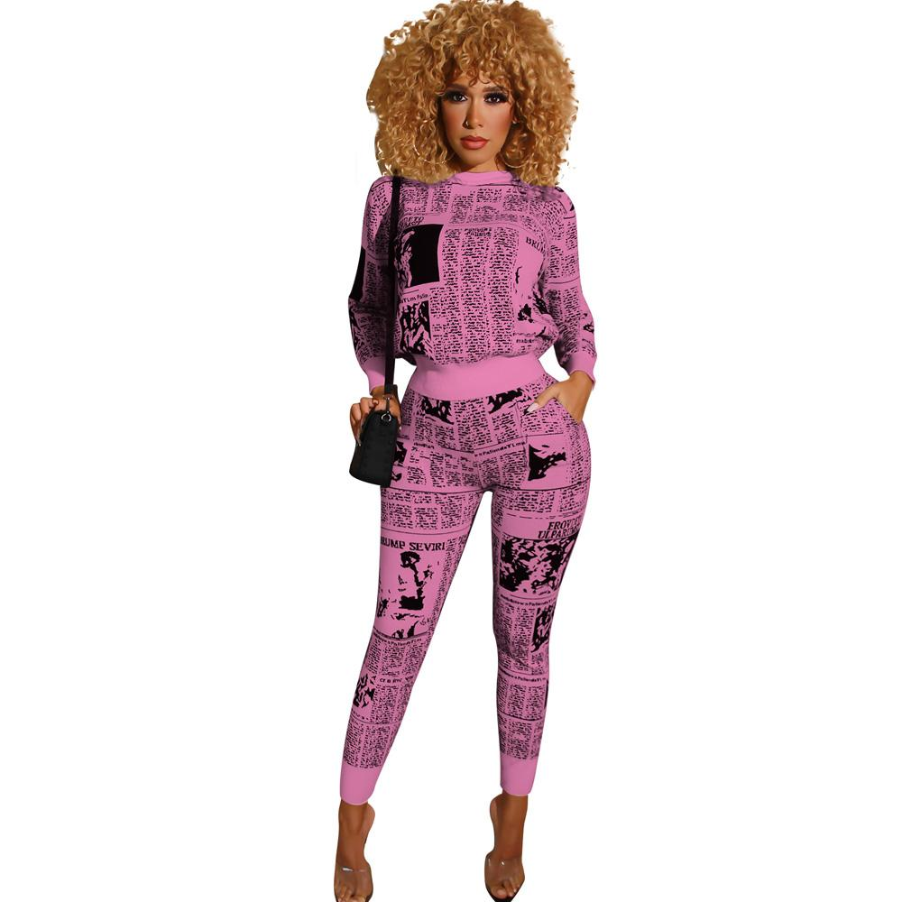 2020 Autumn Winter Women Fashion Sportsuit Bodycon Set O-Neck Clothes Pants Long Tracksuit Top Casual Outfit Femmes Sweatshirt Ujwcu