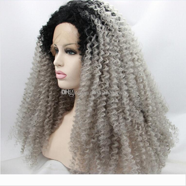 Synthetic Ombre Afro Kinky Enrolado Cinza peruca dianteira do laço Glueless Two Tone Natural Preto Cinza Prateado resistente ao calor Cabelo Mulheres Perucas