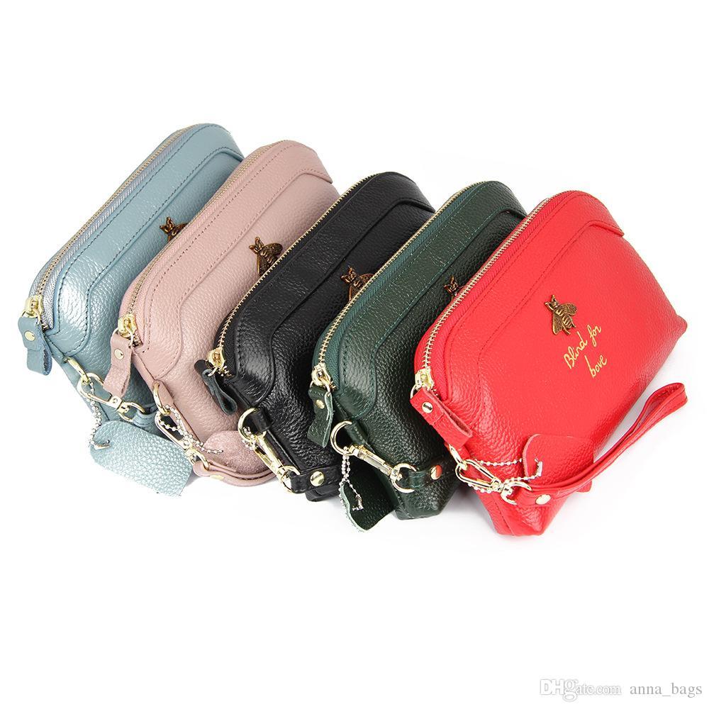 Novo designer de moda de luxo bonito linda abelha 3d zíper couro genuíno longa de embreagem bolsa carteira para as mulheres 7 cores