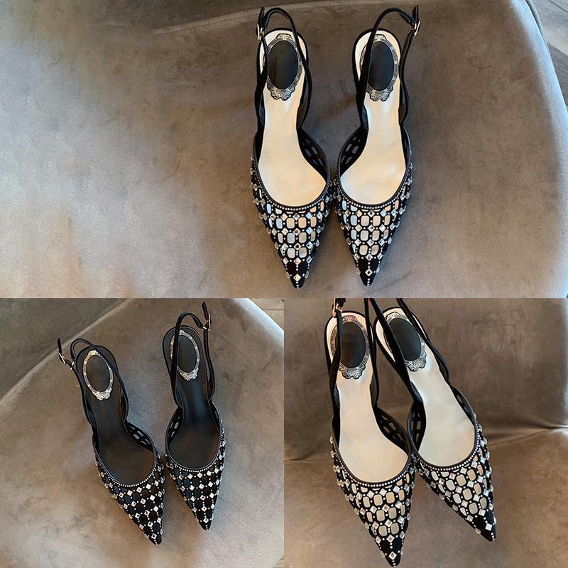 Designer negro das mulheres sandálias de luxo Pedrinhas botão metálico pontiagudo salto alto verão de alta qualidade da moda Com Box Tamanho 35-40