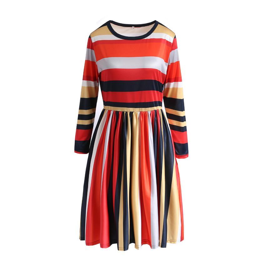 Gestreifte Frauen Kleider Langarm-O-Ansatz dünne Partei-Damen-Kleid-beiläufige Frühlings-Herbst-Designer Damenkleidung