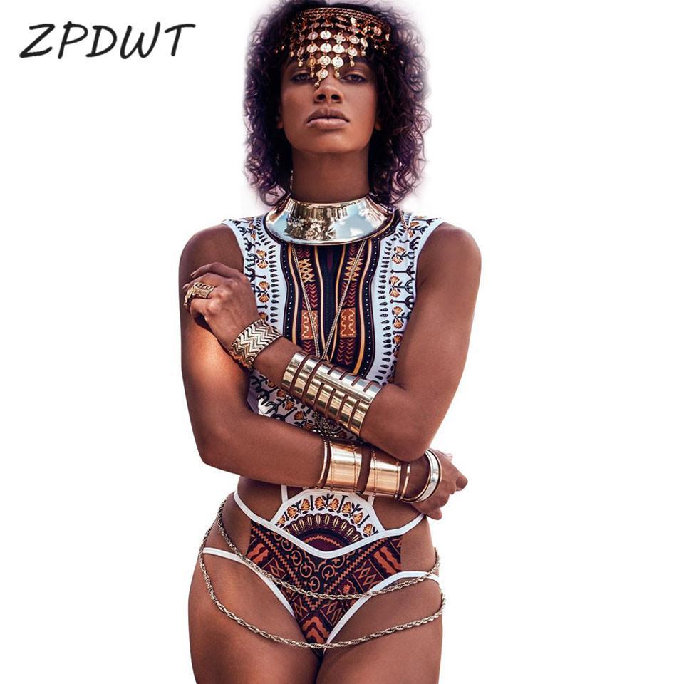 Pieza Bandaje baño de una pieza africana Imprimir traje de baño traje de baño de mujeres de las tribus de trajes de baño de Monokini Totem Maillot De Baño Une