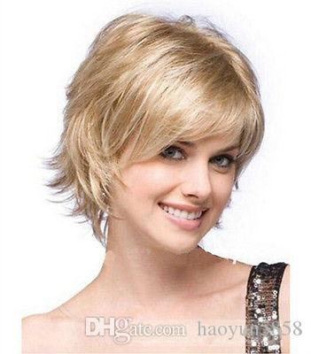 new fashion short blonde straight Synthetic womens Hair Wigs cosplay Wig for women wig Free deliver