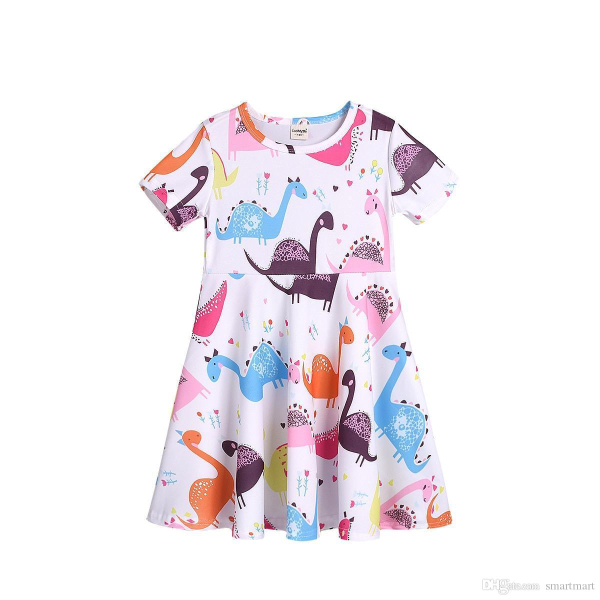 Baby Girls Dress Little Kids Toddler Girl Cartoon Owl Splice Tiered Sundress Little Princess Dresses Outfits Skirt