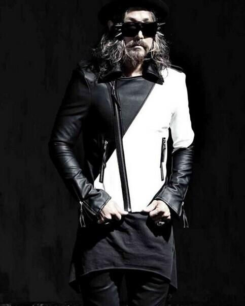 2019 yeni ince kontrast renk Kore versiyonu erkek deri gelgit kişilik lokomotif deri ceket kostümleri