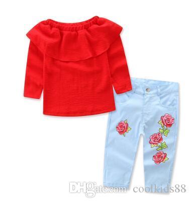 Малыш девушки дети с плеча топы джинсовые цветочные брюки джинсы 2шт наряды комплект одежды пуловер Sunsuit