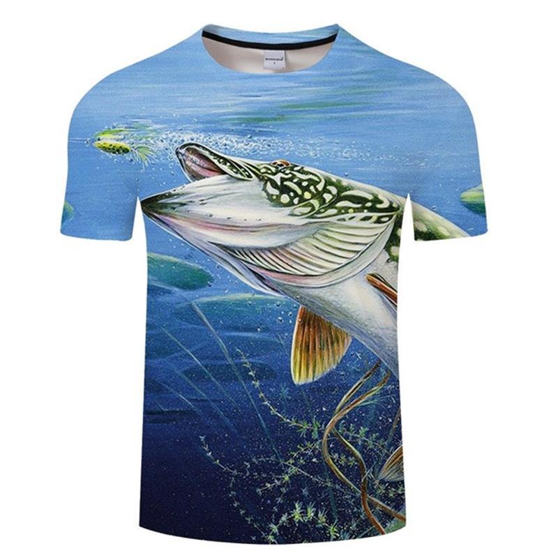 T-shirt engraçado da pesca camisa Verão Fish 3D Printing T Homens Mulheres Hip Hop Streetwear Moda animal Tops T 3d peixes camiseta 4XL