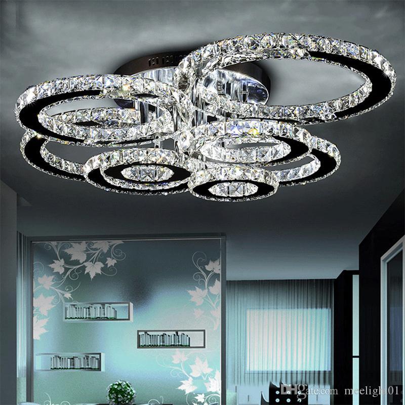 LED moderne lustres Luminaire en acier inoxydable Lampe en cristal de plafond pour LED Living Chambre à coucher Diamond Ring Lamparas de techo Lustres