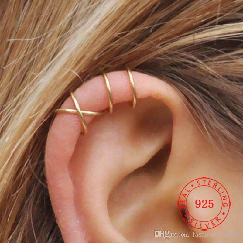Fashion Sterling Silver 925 Huggie Clip-on & Screw Back Gold Cross Fancy Korean Double Layer Earrings For Girls Women