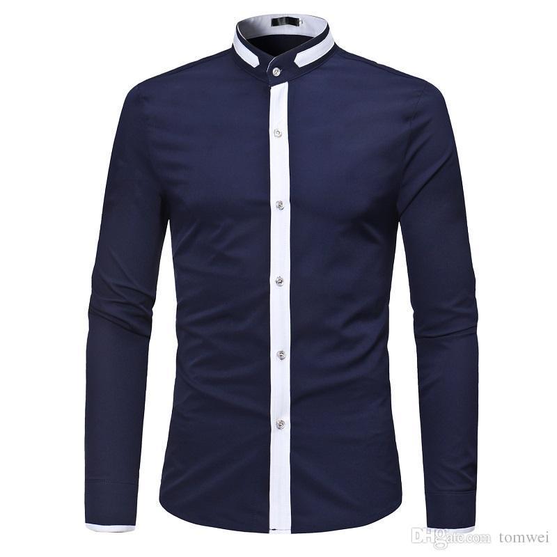 a5616b005ae ... Camisa clásica de manga larga Camisas de vestir para hombre Camisas de  algodón de corte slim ...