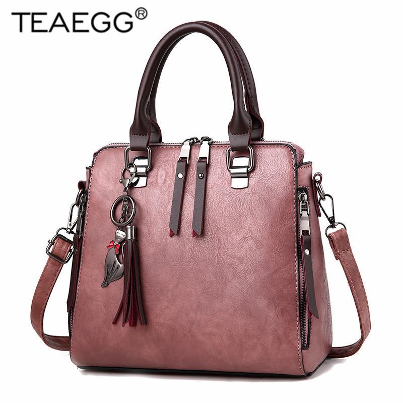 حقيبة TEAEGG متوسط سعة كبيرة السيدات حقائب اليد زيبر القط الديكور التسوق مكتب المرأة CROSSBODY حقائب الكتف