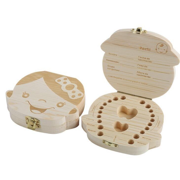 Baby Zähne Box Organizer Sichern Milchzähne Holz Aufbewahrungsbox Große Geschenke 3-6 Jahre Kreativ für Kinder Jungen Mädchen Bild LX1847