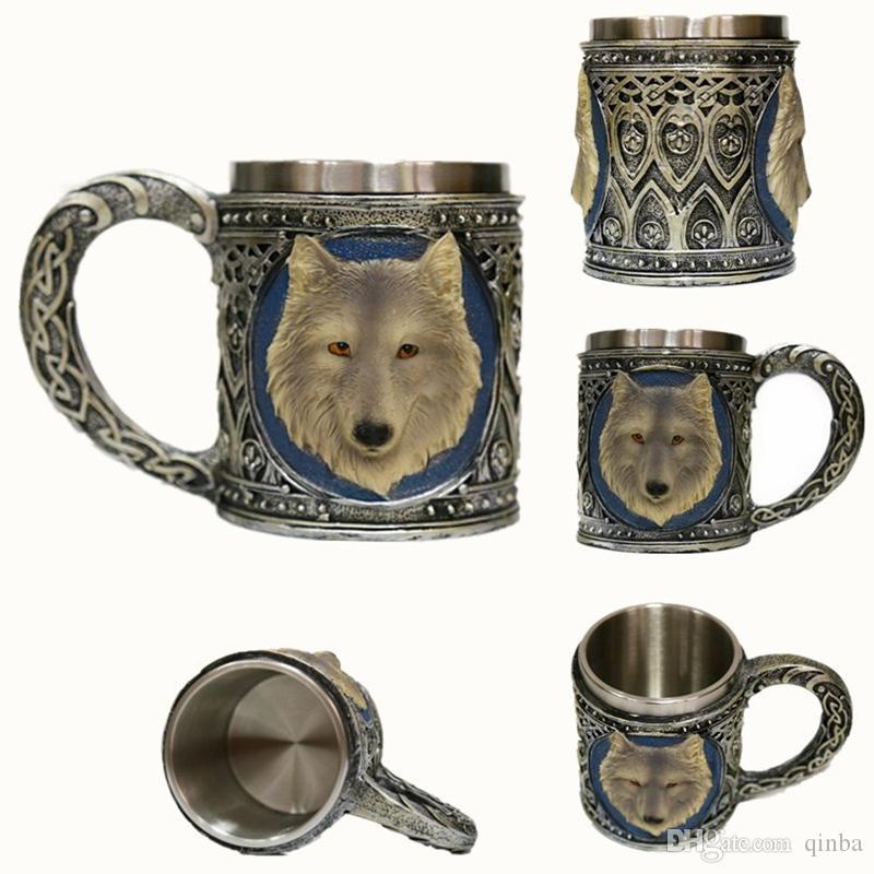 Creative Halloween Gift Wolf Head Mug 3d Stereo Resin Double Layer Stainless Steel Retro Metal Water Coffee Beer Milk Cup Animal Skull Cup