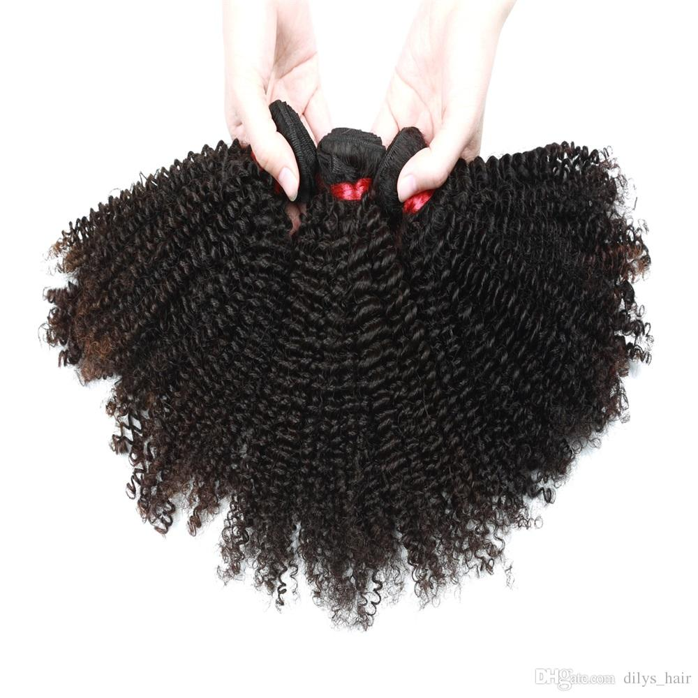 Afro Kinky Curly Extensions 3 Bundles Bundles Indiens Péruviens Non Transformés Bundles de Cheveux Humains Couleur Naturelle 8-28 pouces