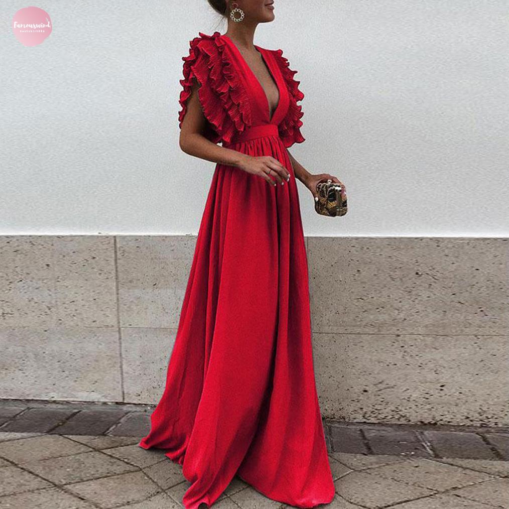 Dress donne sexy profondo scollo a V increspature maxi Boho Club partito della fasciatura Abito lungo Bridesmaids Infinity Robe Longue Femme
