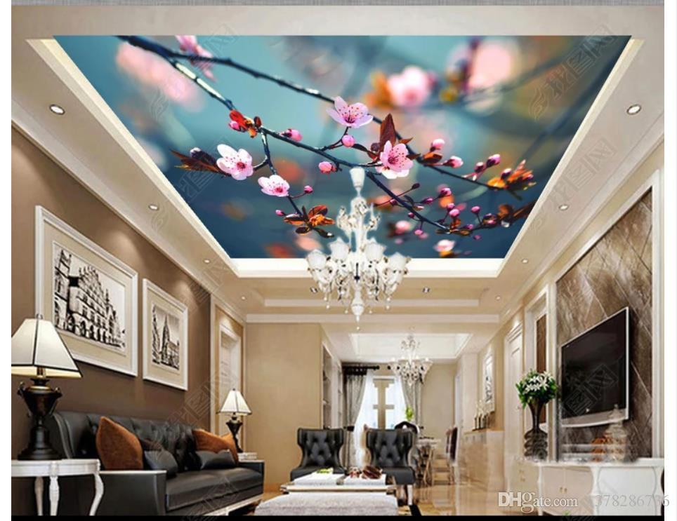 3d ذروة جدارية مخصصة صور خلفيات خلفيات جميلة المزهرة زهر الخوخ إزهار الكرز غرفة المعيشة السقف ذروة جدارية