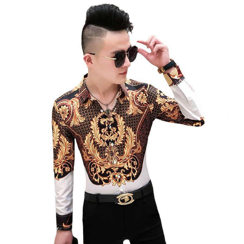 Luxuxgold Print Shirt Männer königliche Retro T-Shirts Partei-Nachtklub Tuxedo Shirts beiläufig nehmen passende Street Bluse Homme