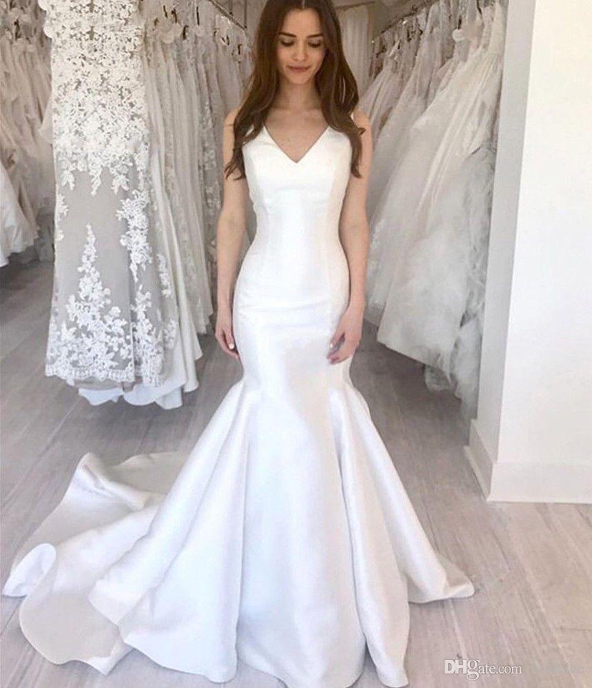 Простые атласные свадебные платья русалка 2020 v шея застежка на молнию обратно заверенные поезд свадебные платья плюс размер индивидуальный халат де марок