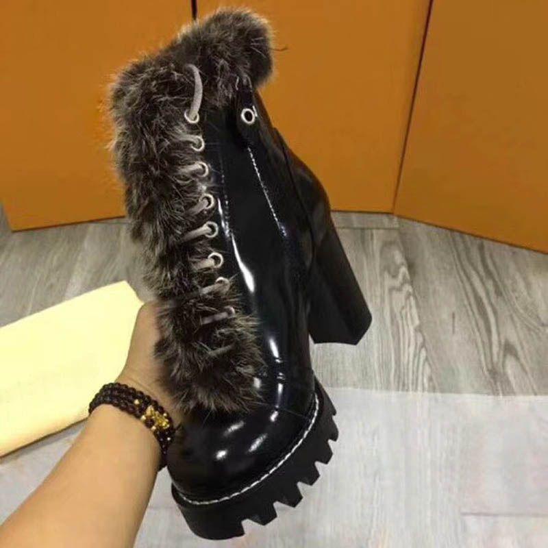 Hot femmes vendre- imprimer plateforme en cuir, bottes de cheveux de lapin Designer 9.5cm toile dames grand talon cheville boîte Boot trois dimensions de couleur 35-42