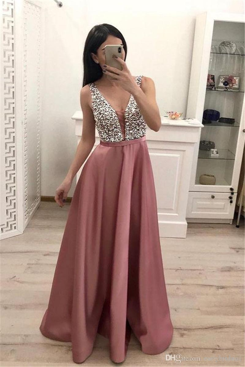 2020 Dusty Pink Sequined-линия Пром платья дешевых V шея с открытой спиной Вечерних платьев Длинной Формальной партии Pageant невеста Wear 2687