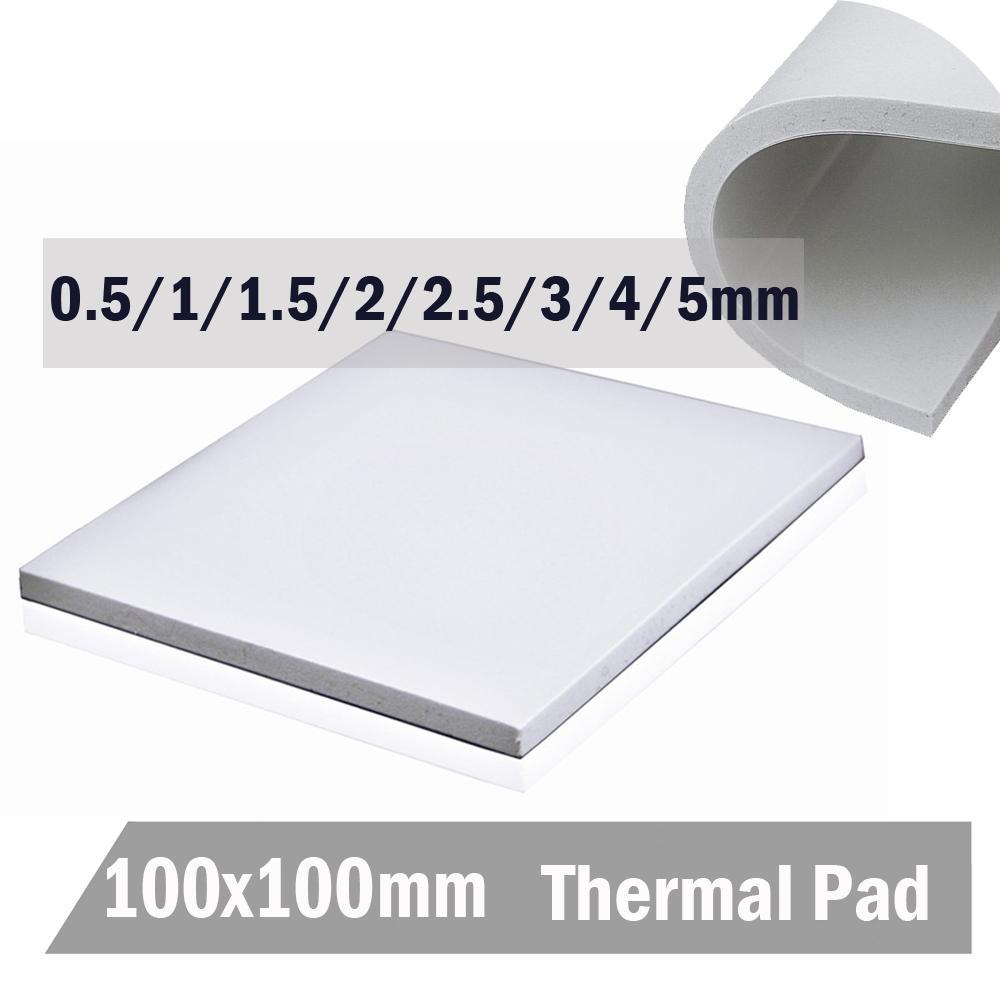 컴퓨터 오피스 Gdstime 100 * 100 * 5 화이트 IC 칩 전도 히트 싱크 0.5 1 1.5 2 3 4mm 5mm 열 패드 화합물 실리콘 패드