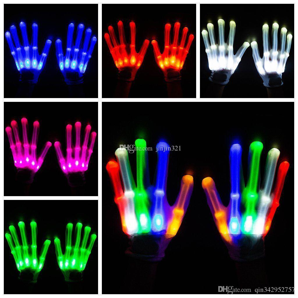 New arrival Halloween Christmas Ball Performance Props led Glowing Gloves Creative Colorful Flash Gloves Rainbow Fluorescent Gloves toys