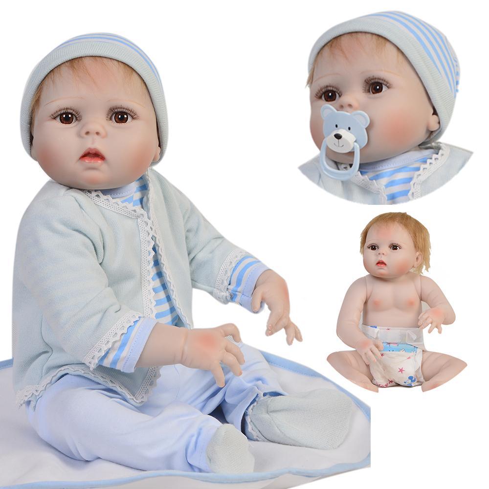 23 polegada 57 cm Macio cheio de Silicone Bonecas Reborn Bebê Realista menino Boneca Reborn Vinil Cheio BeBe Boneca Reborn boneca Para Meninas