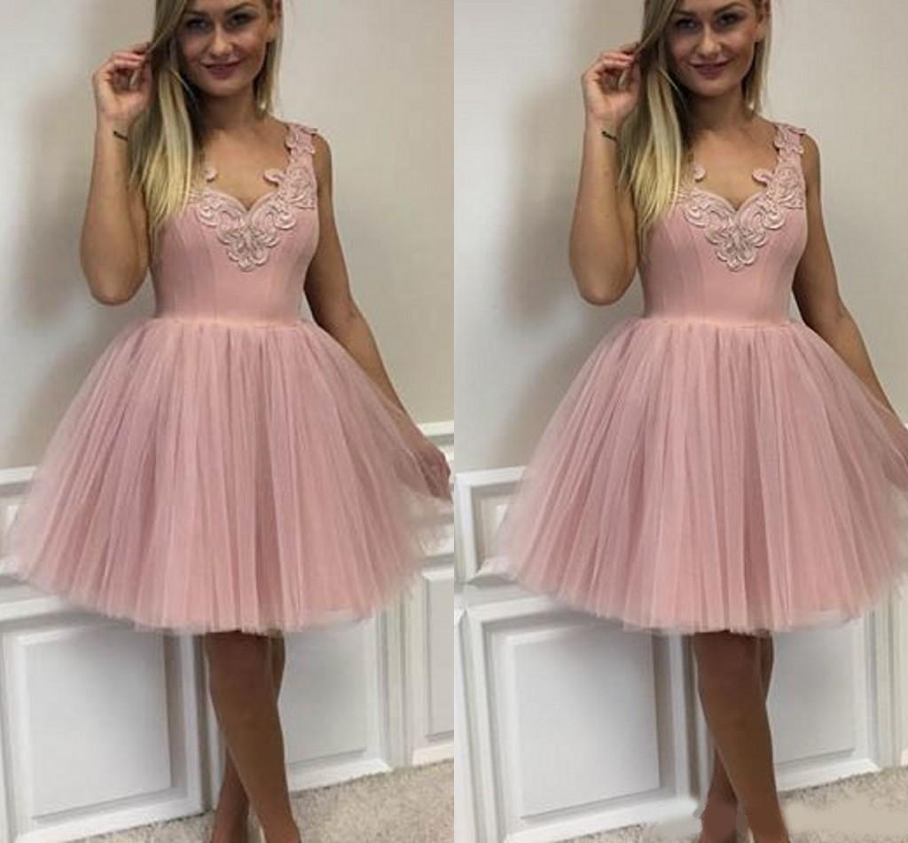 Lindo elegante con cuello en v tul vacas vestidos cremallera retroceso pink cóctel fiesta vestidos de fiesta robe de retour vestidos de graduación