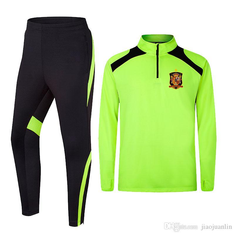 Espagne 2020 printemps et en automne nouveaux vêtements formation de football de longue veste peuvent être Survêtements de sport bricolage hommes personnalisés