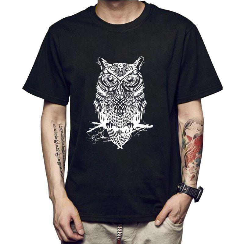 Moda Manica corta gufo Stampato Uomini Tshirt Fresco Divertente Uomo Tee shirts Top Uomo T-shirt In Cotone casual Mens T shirt T01