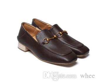 2019 New listing women dress shoes Solid wood heel women pumps Square head 295