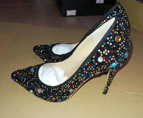 Yapay elmas Sivri Burun İnce Topuk Parti Düğün Kristal Ayakkabı Kadın On Sıcak satış-Burun Yüksek Topuklar Kadınlar Pompa Kayma