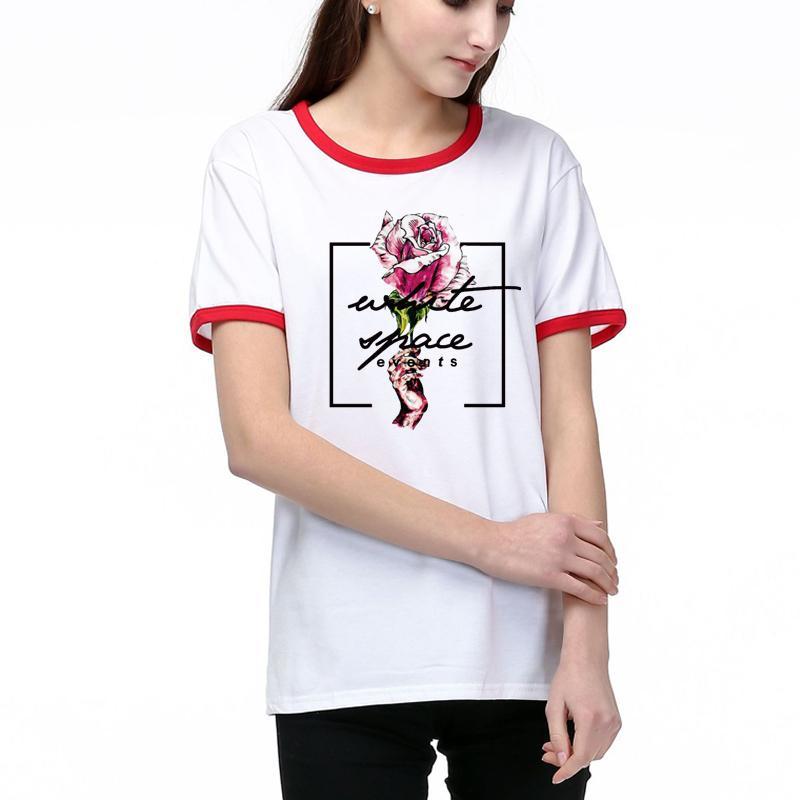 T-shirts pour femmes 2020 nouvelles femmes de la mode Lettre Rose ras du cou imprimé T-shirt décontracté femmes respirant manches courtes T-shirt Taille S-2XL