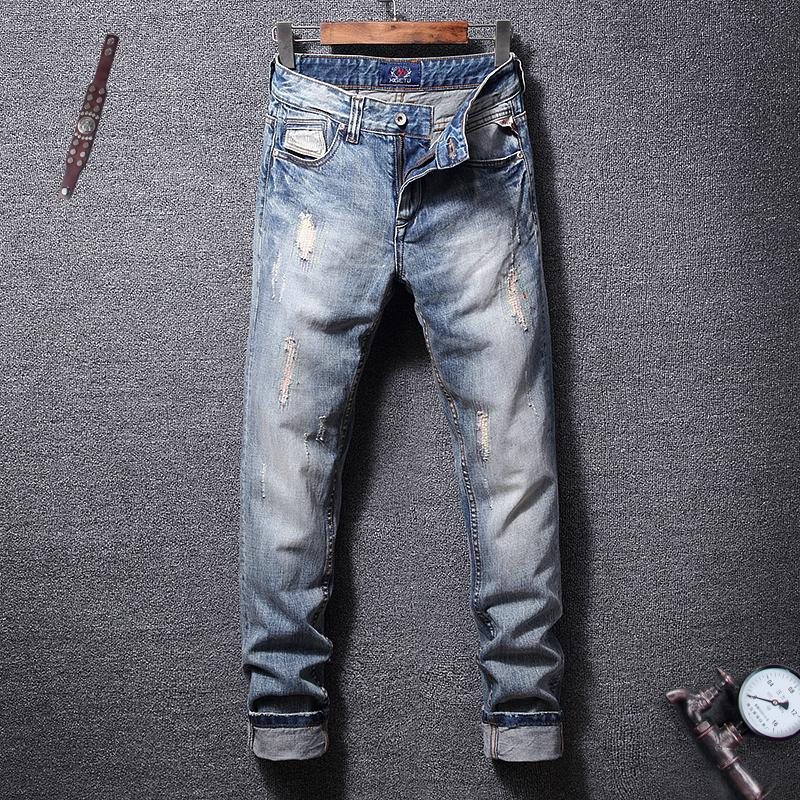 Italian Vintage Style Fashion Men Jeans Light Blue Embroidery Ripped Jeans Men Destroyed Patchwork Streetwear Hip Hop