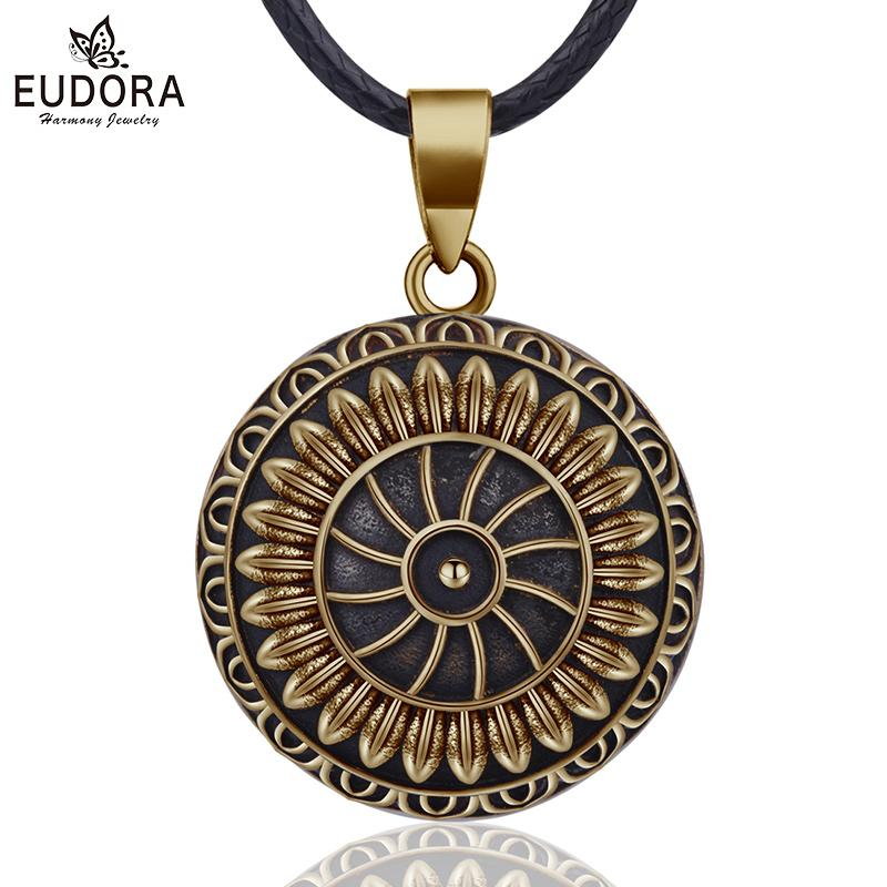 wholesale 20mm Vintage Sunflower Mexican Bola Harmony Chime Ball Pregnancy Baby Pendant Necklace for Women Vintage Jewelry N14NB322