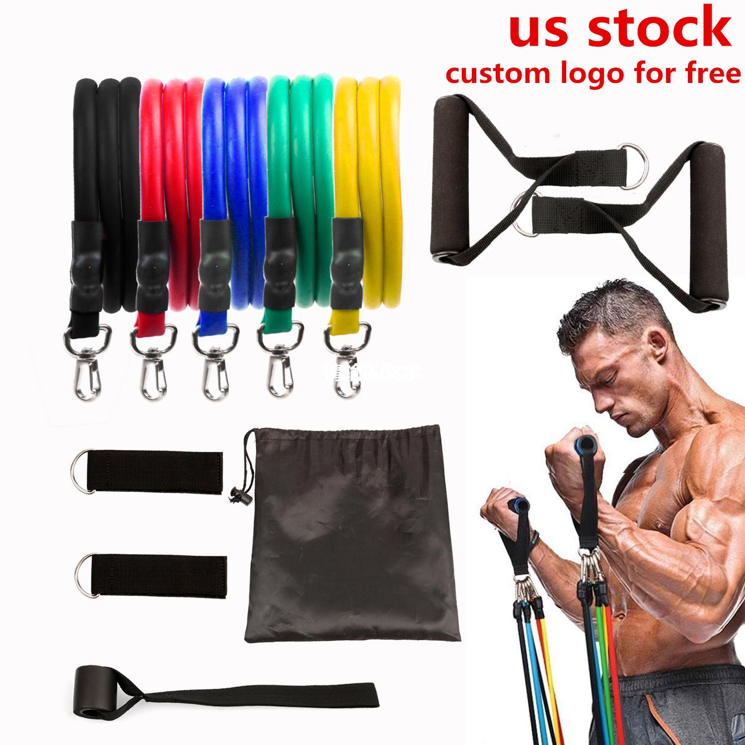 US STOCK, 11 pcs/Set Pull Rope Latex Fitness Exercises Resistance Bands Elastic Exercises Body Fitness Strength Resistance Bands FY7007