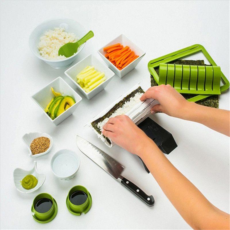 New Sushi Making Kit DIY Easy Sushi Maker Machine Set Rice Roller Mold Roller Cutter Kitchen Cooking Tools