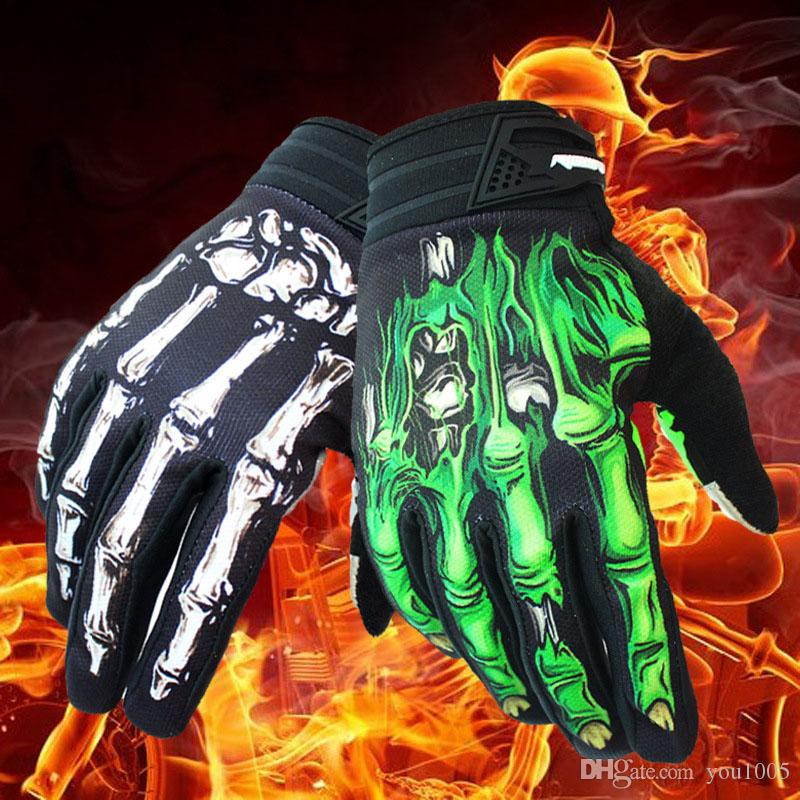 Wholesale- Perforated Leather Motorcycle Gloves Cycling Moto Motorbike Protective Gears Motocross Glove winter man female off road