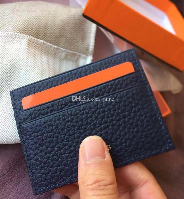 صور حقيقية ماجيك المحفظة حامل بطاقة جلدية حقيقية رقيقة جدا تصميم الأزياء الرجال / النساء حامل بطاقة الائتمان سليم حالة بطاقة الهوية البنك مع مربع