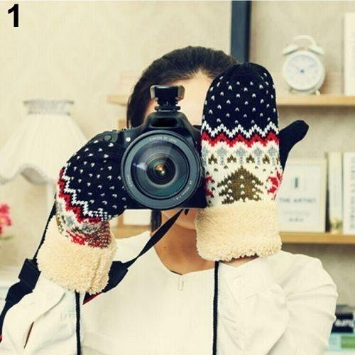 Fashion- Chrismas Tree Pattern Double Layer Knit Halter Mittens Warm Winter Gloves Women