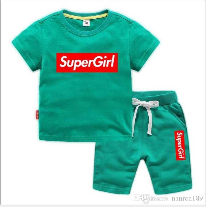2020 Yeni Bahar Lüks L 0g 0 Tasarımcı çocuğun T-shirt Pantolon 2-7 Yaş Takım Çocuklar Marka çocuk 2 adet Pamuk Giyim Setleri Erkek Moda Giysileri